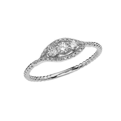 White Gold Dainty Three Stone Diamond Rope Design Engagement/Promise Ring
