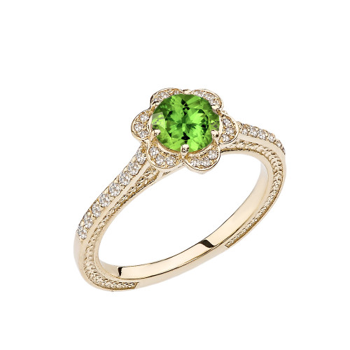 Peridot and Diamond Yellow Gold Engagement/Proposal Ring