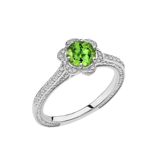 Peridot and Diamond White Gold Engagement/Proposal Ring