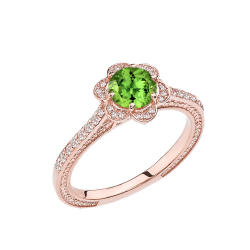 Peridot and Diamond Rose Gold Engagement/Proposal Ring