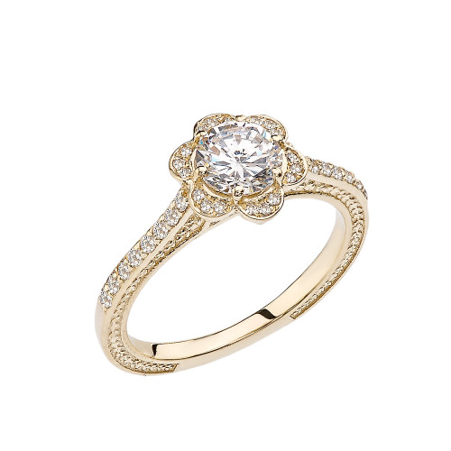 White Topaz and Diamond Yellow Gold Engagement/Proposal Ring