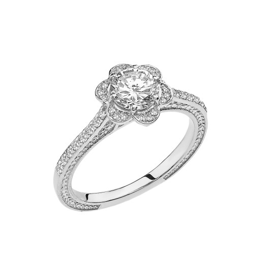 White Topaz and Diamond White Gold Engagement/Proposal Ring