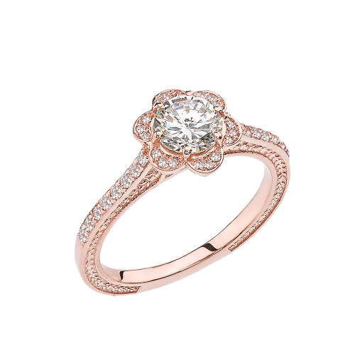 White Topaz and Diamond Rose Gold Engagement/Proposal Ring