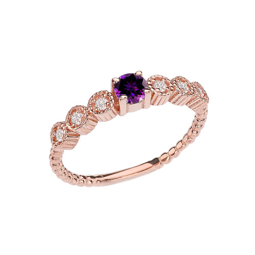Diamond and Amethyst Rose Gold Stackable/Promise Beaded Popcorn Collection Ring