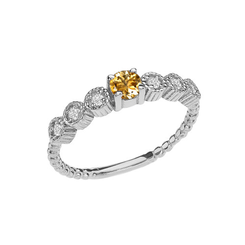 Diamond and Citrine White Gold Stackable/Promise Beaded Popcorn Collection Ring