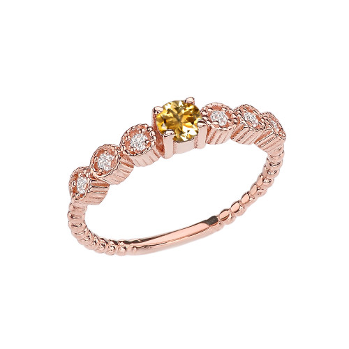 Diamond and Citrine Rose Gold Stackable/Promise Beaded Popcorn Collection Ring