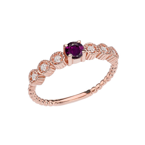 Diamond and Alexandrite(LCAL) Rose Gold Stackable/Promise Beaded Popcorn Collection Ring
