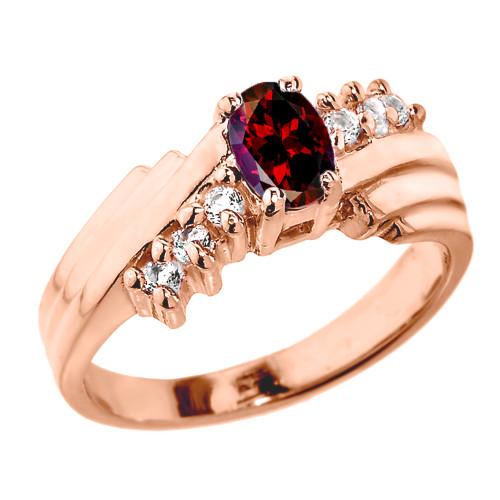 Dazzling Rose Gold Diamond and Garnet Proposal Ring