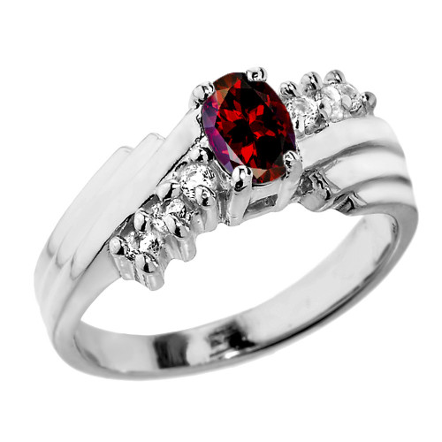 Sterling Silver White Topaz and Garnet Ladies Ring
