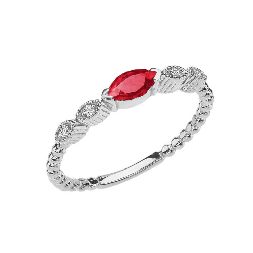 Ruby and Diamond Marquise Cut Engagement/Proposal Beaded Ring in White Gold