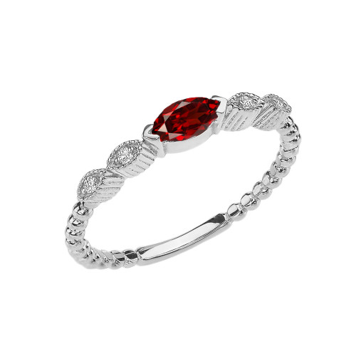 Garnet and Diamond Marquise Cut Engagement/Proposal Beaded Ring in White Gold