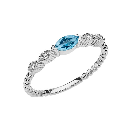Blue Topaz and Diamond Marquise Cut Engagement/Proposal Beaded Ring in White Gold