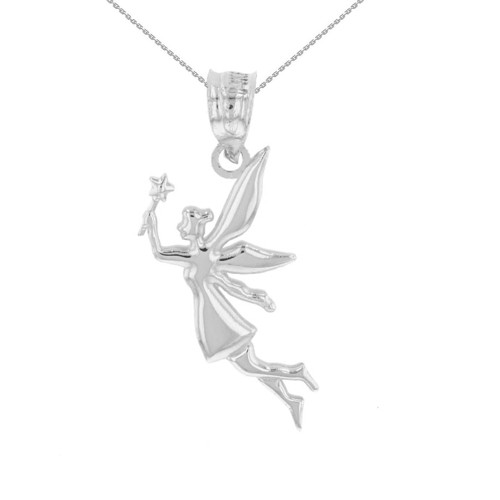 White Gold Angel Fairy Magic Wand Pendant Necklace
