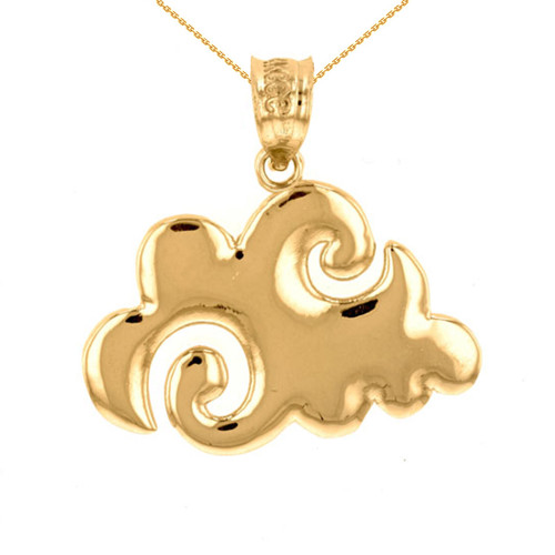 Yellow Gold Swirling Cloud Pendant Necklace