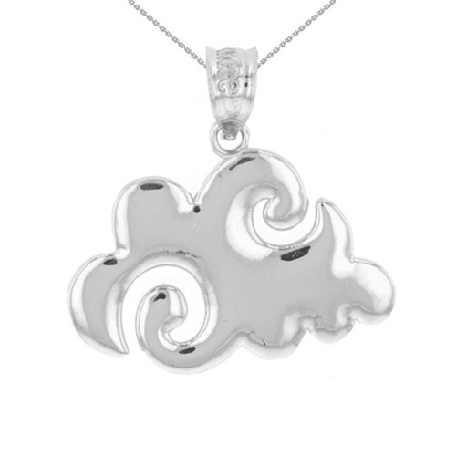 Sterling Silver Swirling Cloud Pendant Necklace