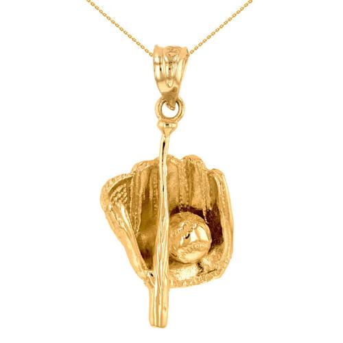 Yellow Gold Baseball Bat and Glove Pendant Necklace