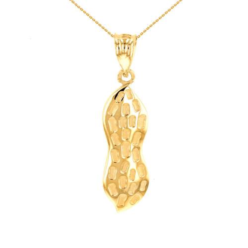 Yellow Gold Peanut Pendant Necklace