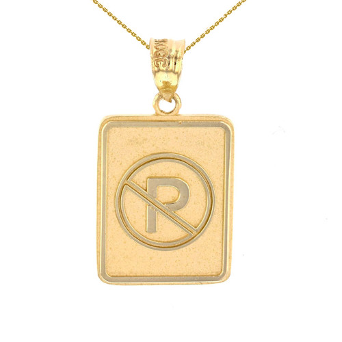 Yellow Gold No Parking Street Traffic Sign Pendant Necklace