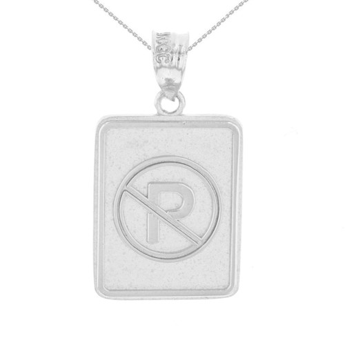 White Gold No Parking Street Traffic Sign Pendant Necklace
