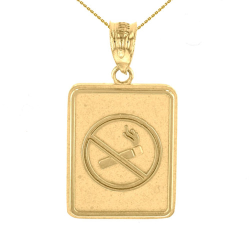 Yellow Gold Anti Smoking Cigarette Sign Pendant Necklace