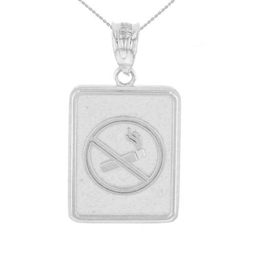 White Gold Anti Smoking Cigarette Sign Pendant Necklace