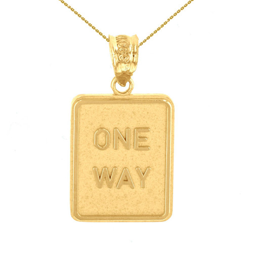 Yellow Gold One Way Street Traffic Sign Pendant Necklace