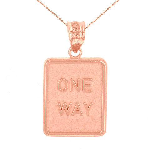 Rose Gold One Way Street Traffic Sign Pendant Necklace