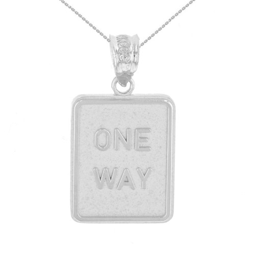 Sterling Silver One Way Street Traffic Sign Pendant Necklace