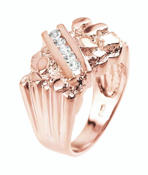 Rose Gold Cubic Zirconia Men's Signet Nugget Ring