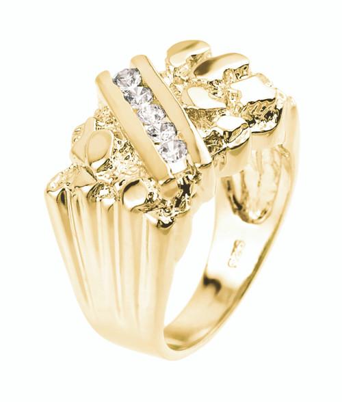 Yellow Gold Cubic Zirconia Men's Signet Nugget Ring