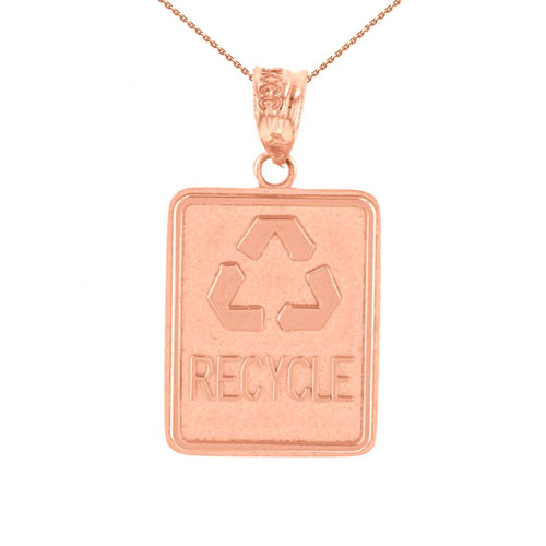 Rose Gold Zero Waste Street Sign Recycling Pendant Necklace