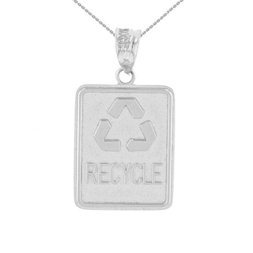 White Gold Zero Waste Street Sign Recycling Pendant Necklace