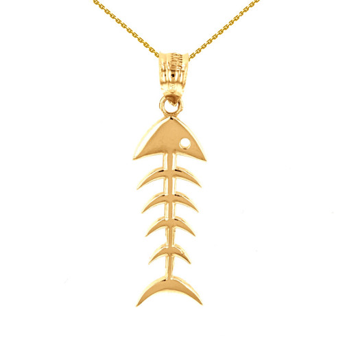 Yellow Gold Fish Bone Skeleton Pendant Necklace