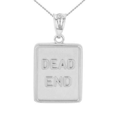 Sterling Silver Dead End Traffic Sign Pendant Necklace