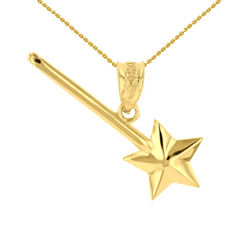 Yellow Gold Star Magical Wand Pendant Necklace