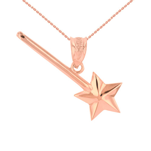 Rose  Gold Star Magical Wand Pendant Necklace