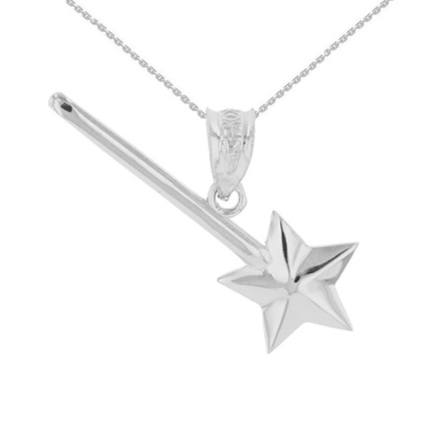 White Gold Star Magical Wand Pendant Necklace