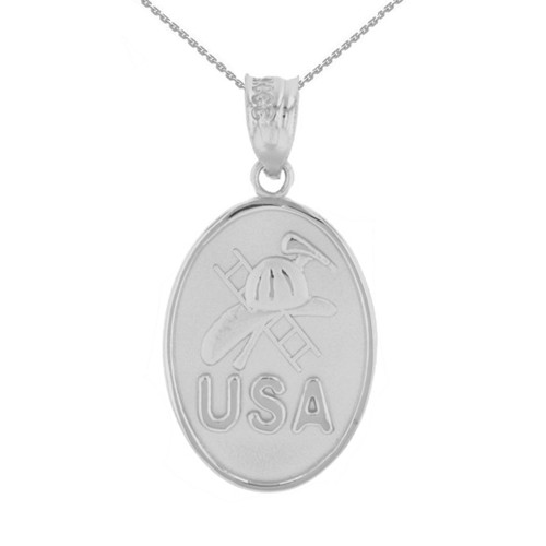 White Gold USA Firefighter Oval Medallion Pendant Necklace