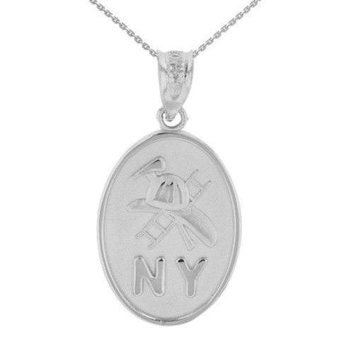 White Gold New York Firefighter Oval Medallion Pendant Necklace