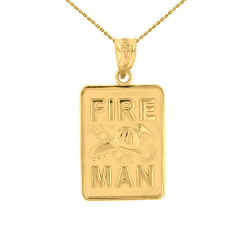 Yellow Gold Fire Man Emblem Pendant Necklace