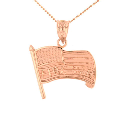 Rose Gold Fire Man American Flag Pendant Necklace
