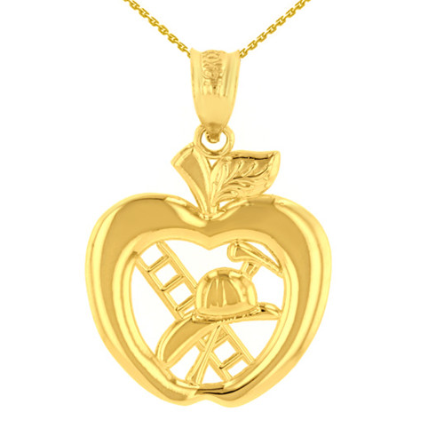 Yellow Gold New York Fire Department Big Apple Firefighter Pendant Necklace