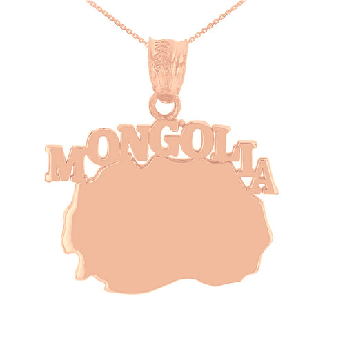 Rose Gold  Mongolia Country Pendant Necklace