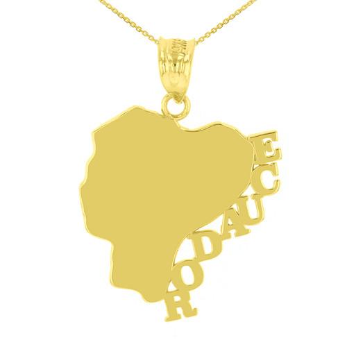Yellow Gold Ecuador Country Pendant Necklace