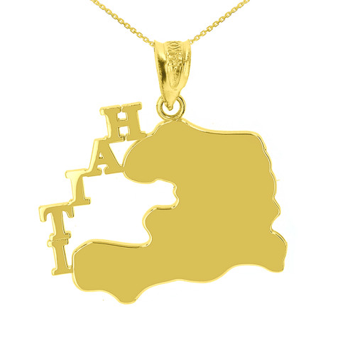 Yellow Gold Haiti Country Pendant Necklace
