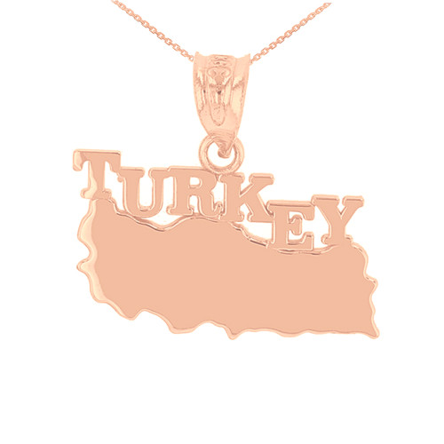 Rose Gold Turkey Country Pendant Necklace