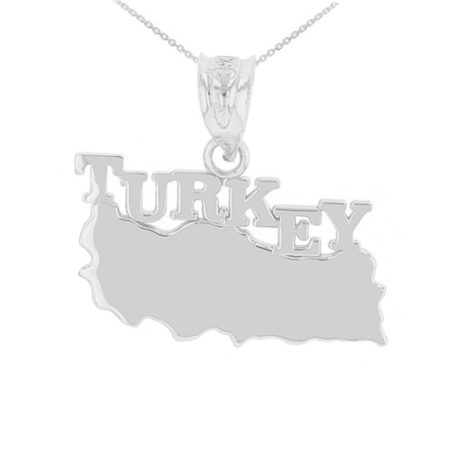 White Gold Turkey Country Pendant Necklace