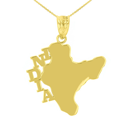 Yellow Gold India Country Pendant Necklace
