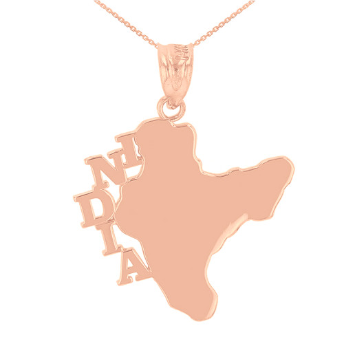 Rose Gold India Country Pendant Necklace