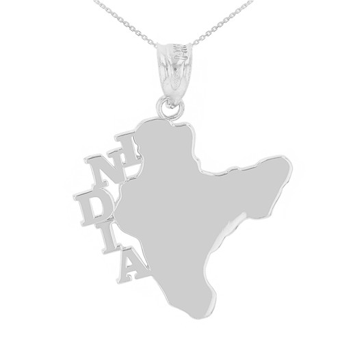White Gold India Country Pendant Necklace